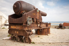 Old big rusted cannon in Medina of Tangier, Morocco Royalty Free Stock Photos