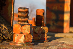 Old big rusty bolts Stock Photo