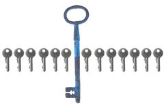 Old big vintage forged key standing out from the crowd Stock Photo
