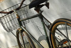Old Bike 4. An old rackety bike with a wire basket in front royalty free stock photography