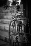 Old bike. Detail shot of an old , rusty bike with destructed saddle standing in front of some stairs taken from behind stock image