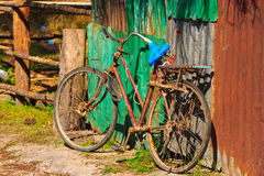 Old bike in farm Stock Photos