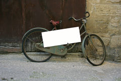 Old bike with frame. In street Royalty Free Stock Photos