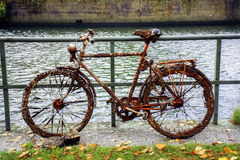 Old bike, full of rust, small clams and barnacles, found in the. Old discarded bike, full of rust, small clams and barnacles, found in the water of the canal Stock Images