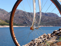 Old bike in the mountain. Water, ancient Royalty Free Stock Photos