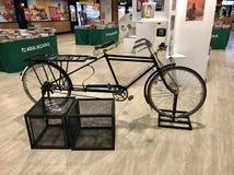 Old black bike. Old bicycle is big Royalty Free Stock Photo