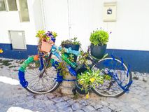 An old bike with plants stock images