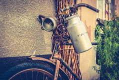 Old bike. Old rusty bicycle as decoration royalty free stock photo