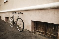 Old bike on the street Stock Photography