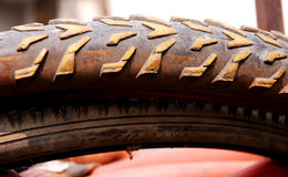 Old bike tyre Royalty Free Stock Photos