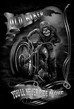Old biker. Concept design for tee shirt motor community Stock Photography