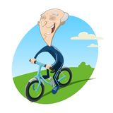 Old biker. Vector illustration of Old man on bike Royalty Free Stock Photography