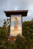 Old bilboard at the Painted Church. South Kona, Hawaii stock photography