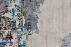 Old Billboard With Torn  Paper Posters Texture  Or Horizontal Ba Royalty Free Stock Photography