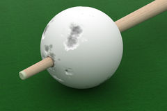 Old billiard ball punched cue. 3D image Royalty Free Stock Photo