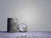 Old bin in the street - 3D render Royalty Free Stock Image
