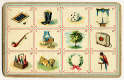 Old bingo card figurative. Old bingo card with numbers and images Royalty Free Stock Image