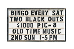 Old bingo sign. Bingo every saturday - old sign isolated on white Stock Image