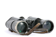 Old binoculars. Old Black Binoculars Isolated on White Royalty Free Stock Photos