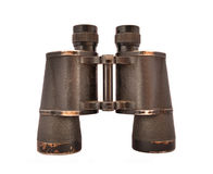 Old binoculars. Old vintage binoculars isolated on white Stock Photos