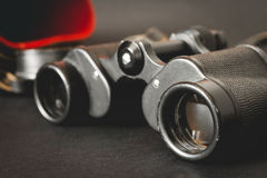 Old binoculars on black background Royalty Free Stock Photography