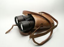 Old binoculars in case Stock Photography
