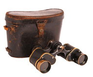 Old binoculars and case isolated on white. Old binoculars and leather case of German army the forties years of 20 century, isolated on white Stock Photography