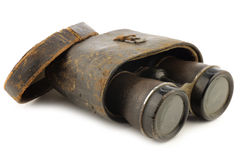 Old binoculars with a case Royalty Free Stock Photography