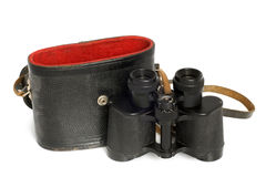 Old binoculars and leather case Stock Photography