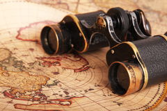 Old Binoculars On Antique Map Royalty Free Stock Photos