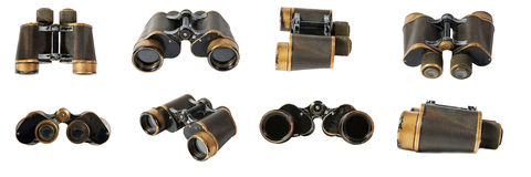 Old binoculars on a white background Stock Photo