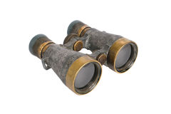 Old binoculars on white background Stock Photos