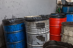 Old bins of oil Royalty Free Stock Photos