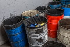 Old bins of oil Royalty Free Stock Image
