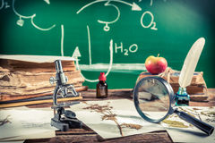 Old biology lesson in classroom Royalty Free Stock Images