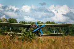 Old biplane. Antonov-2 at the rural aerodrome Royalty Free Stock Image