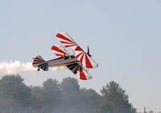 Old biplane. Retro biplane aircraft taking off Stock Image