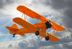 Old Biplane. Retro style picture with aviation theme Stock Images