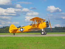 Old biplane Boeing B 75 Stearman. PILSEN, CZECH REPUBLIC - AUGUST 28: old biplane Boeing B 75 Stearman ready to take off, Pilsen airshow on August 28, 2011 in stock images