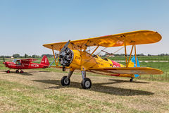 Old biplane Boeing Stearman Model 75 Stock Images