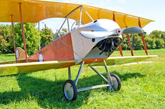 Old biplane is exhibited at Zhuliany State Aviation Museum in Kyiv, Ukraine Stock Photo