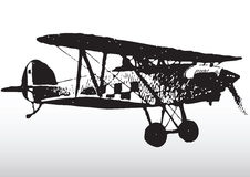 Old biplane in flight. Illustration of old biplane aircraft in flight with white background Royalty Free Stock Images