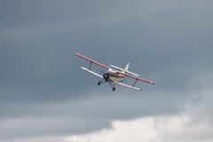 Old biplane landing Royalty Free Stock Images