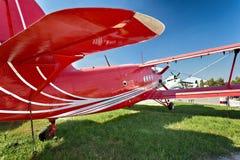 Old biplane  on white background. Retro airplane Stock Photos