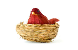 Old bird toy. And nest isolated over white Stock Photo