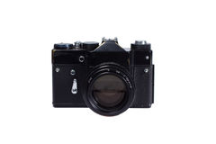 Old black 35mm SLR camera Royalty Free Stock Images
