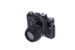 Old black 35mm SLR camera Royalty Free Stock Image