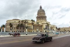 Capitol, Havana. Old american car. stock images