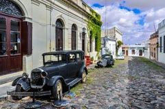 Old black automobile in Colonia del Sacramento, Uruguay Stock Images