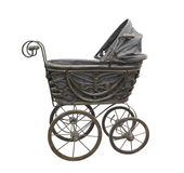 Old Black Baby Carriage Isolated. Royalty Free Stock Photos